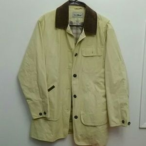 LL Bean Cotton Jacket Lined Leather Collar Size M